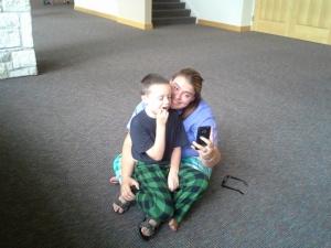 Volunteer Taylor with my son, Judah